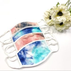 Accessories - Tie-Dye Face Mask Pink Blue Tie Die Face Mask